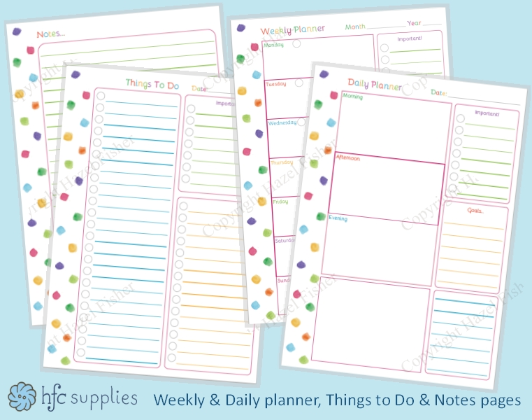 Weekly Planner Pages Candybrand Co