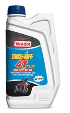 Veedol Take-Off 4T Plus Engine Oil 20W-40 SM for Two Wheelers (1 L) - Pack of 8