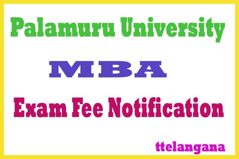Palamuru University PU MBA Exam Fee Notification