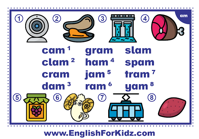 am family words - printable flashcard with pictures