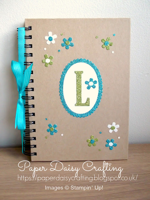 Glimmer paper and Large letters framelits from Stampin' Up!