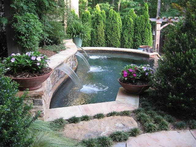 How do I make a waterfall fountain in my backyard?