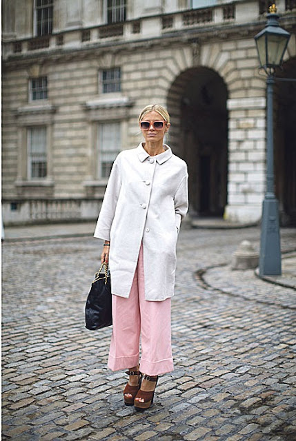 pastel pink trousers