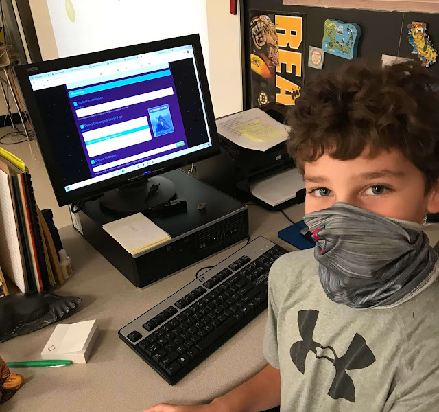 A 5th-grade student in Ms. DeSantis class reviews Insight Observatory's Educational Image Request (EIR) online application before submitting an image request for his nebulae research assignment.