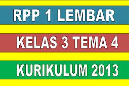 RPP 1 LEMBAR KELAS 3 TEMA 4 KURIKULUM 2013 REVISI 2020