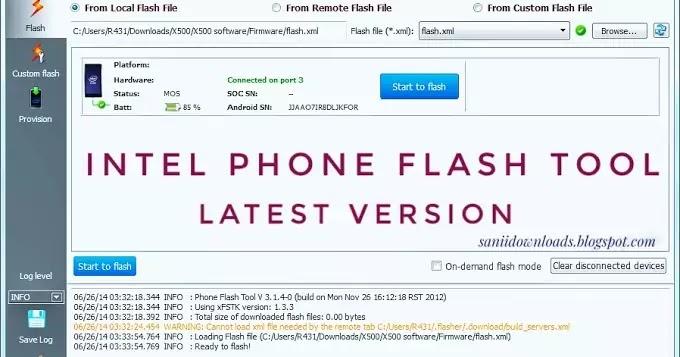 Intel Phone Flash Tool Latest Version V5.8.4.0 Free Download
