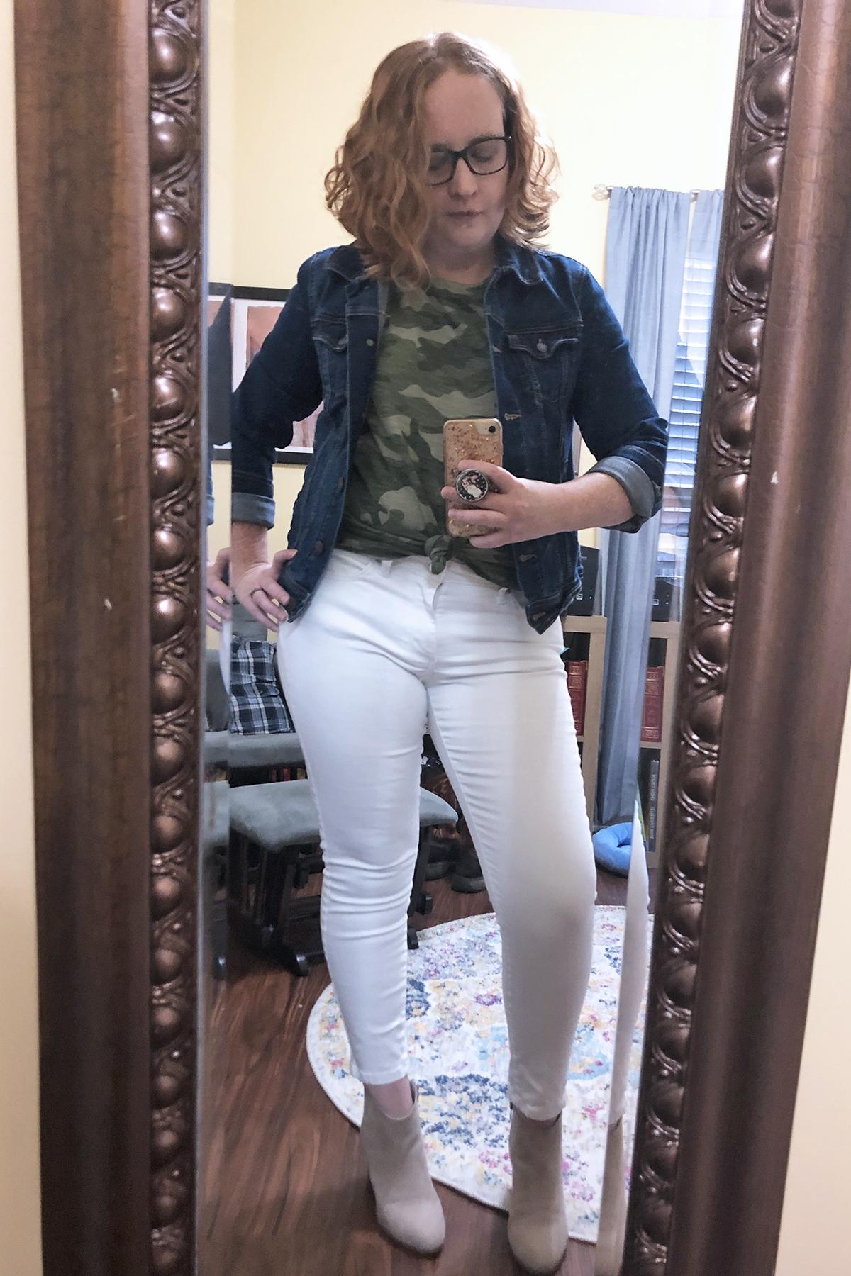 white jeans camo tee