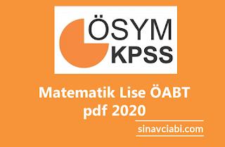 Matematik Lise ÖABT pdf 2020