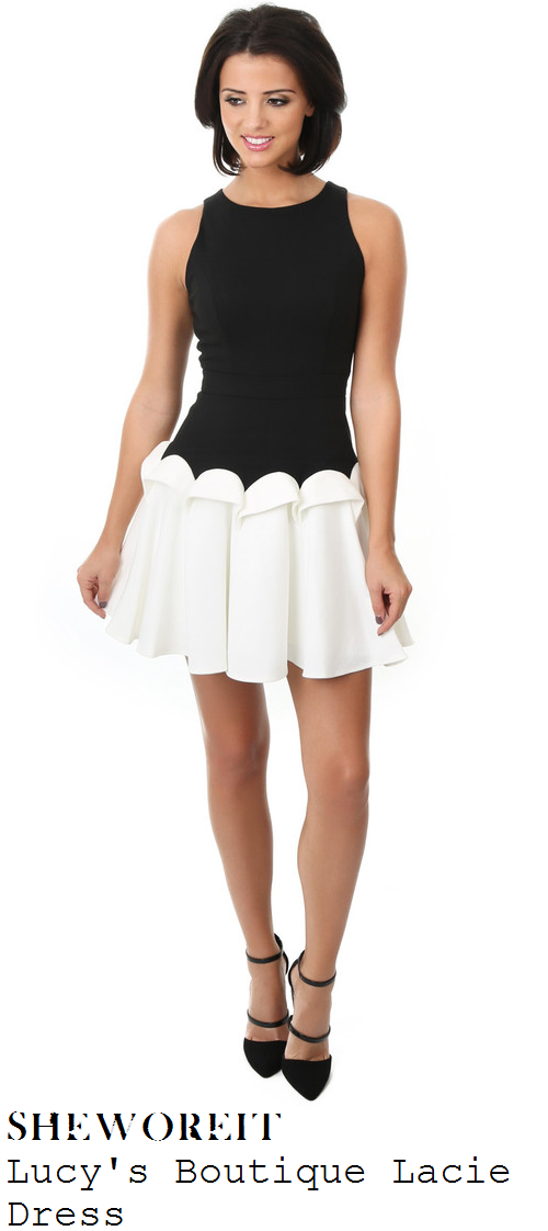 lucy-mecklenburgh-black-and-white-monochrome-sleeveless-scallop-effect-skater-mini-dress-lucys-boutique