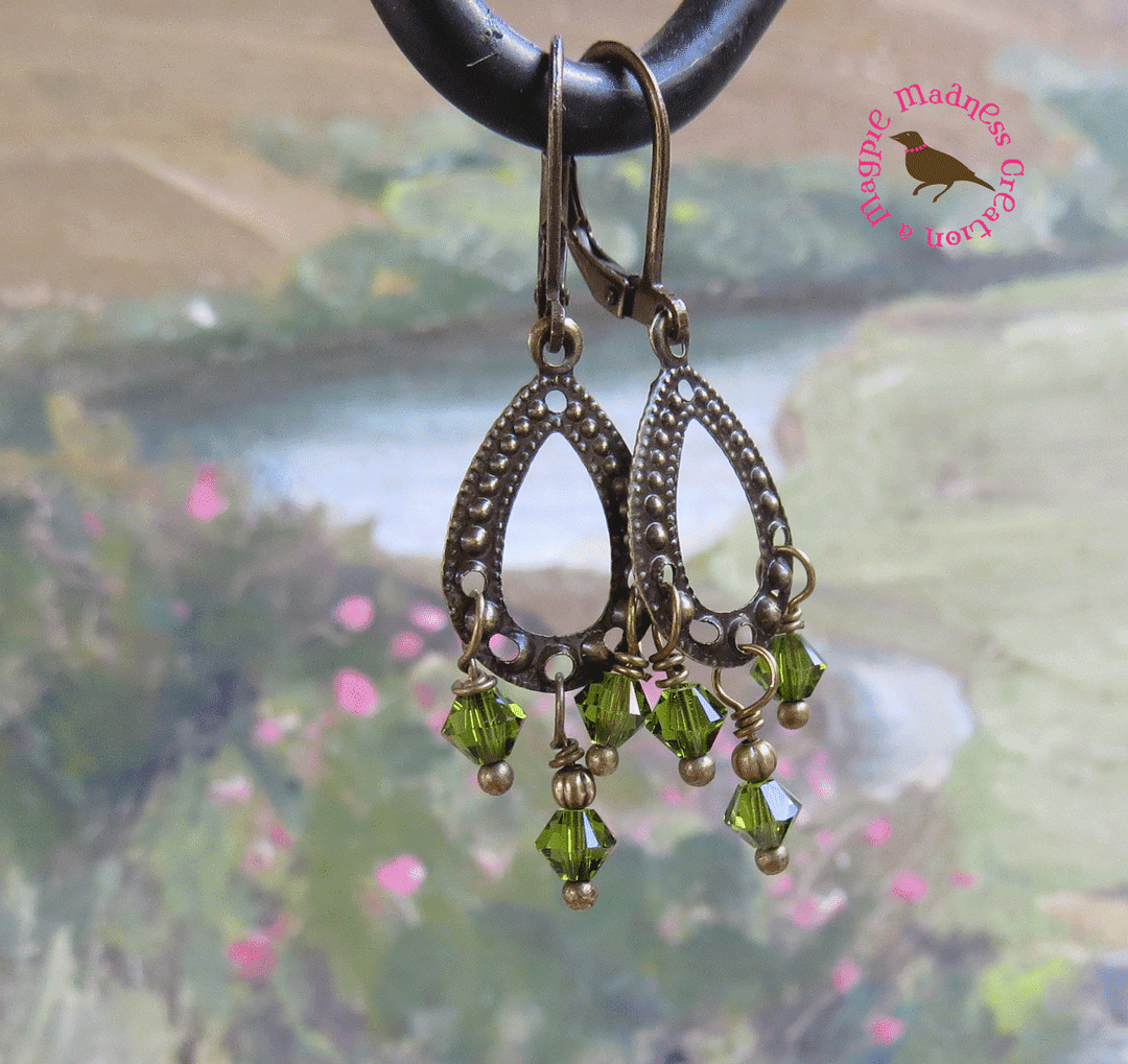 Magpiemadness olive green pearl earrings olive green crystal olive green pearl earrings olive green crystal chandelier earrings petite olive green crystal drop earrings aloadofball Images