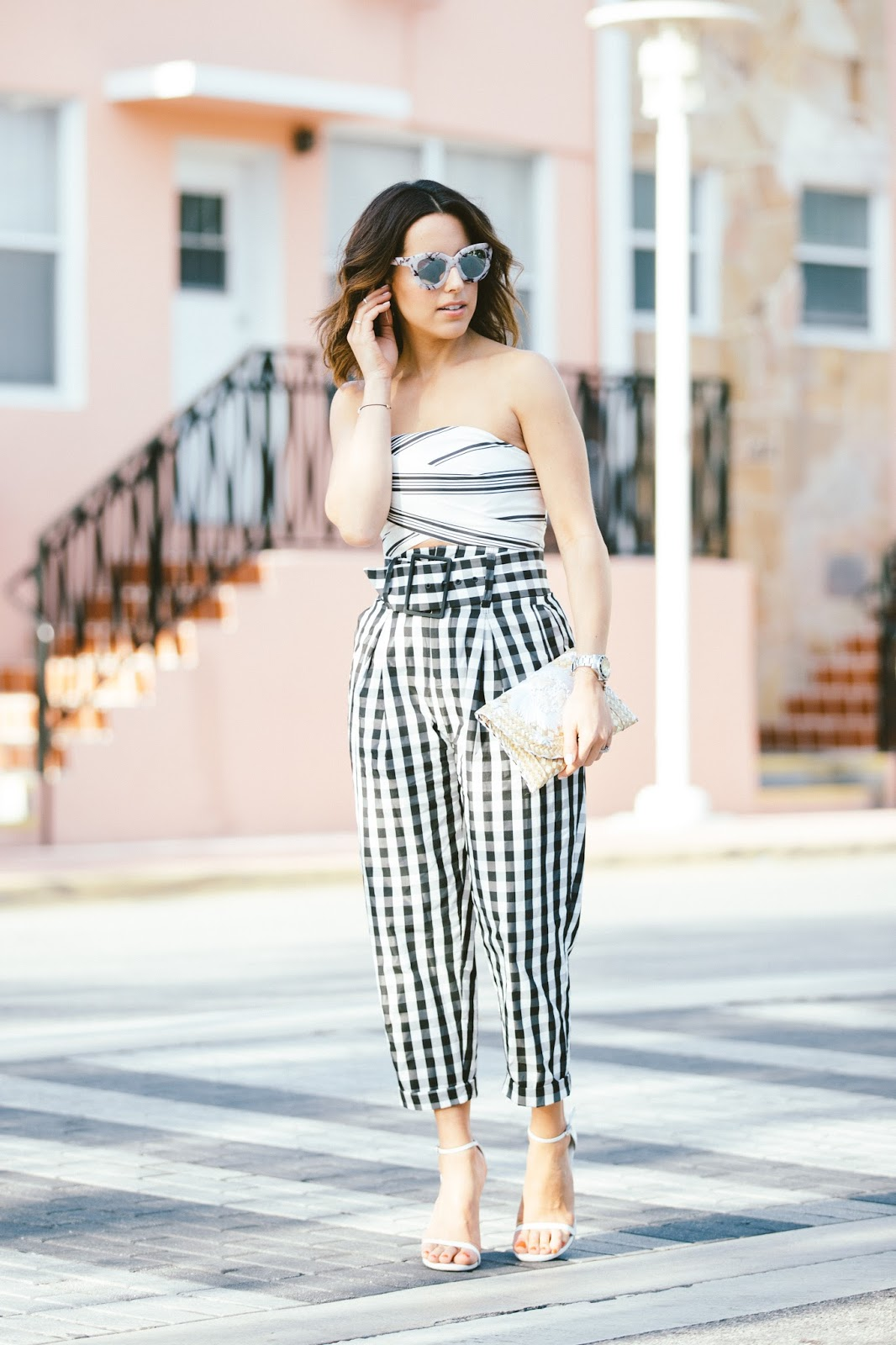 striped-crop-top-high-waist-gingham-pants-fashion-blogger-kelly-saks