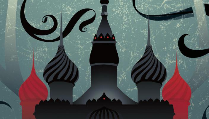 Imagem: ilustração de um castelo com torres inspiradas na arquitetura da Rússia, com domos pontudos e listrados, em tons de cinza, preto e vermelho e o fundo em azul-acinzentado.