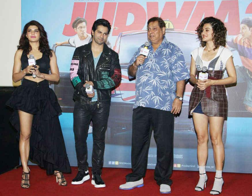 Varun Dhawan, Jacqueline and Taapsee Pannu at Judwaa 2 Trailer Launch