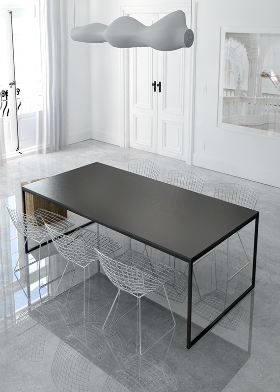 Eclectic minimalistic dining room with gloss concrete floor. Interior design by Eleni Psyllaki @myparadissi