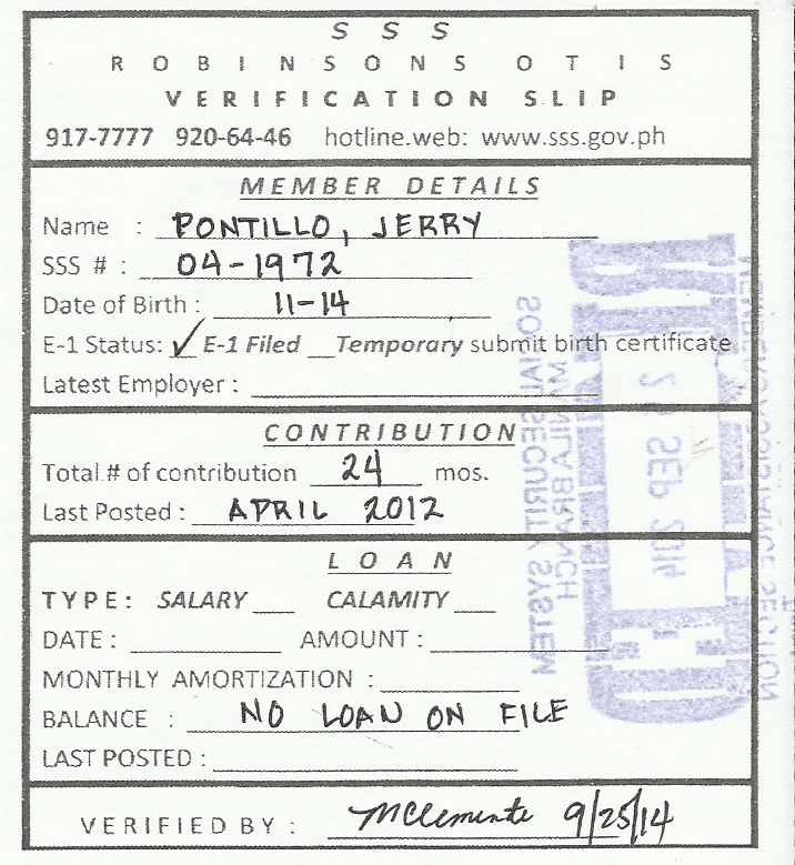 Getting an SSS Verification Slip | tenten blog