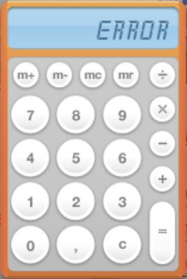 Grafik: ERROR auf dem Sichtfeld eines Taschenrechners