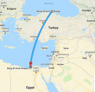 The route from Sinope to Alexandria.