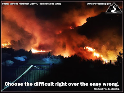 Choose the difficult right over the easy wrong. –Wildland Fire Leadership (wildland fire within the wildland urban interface. Firefighters in back yard of home.)