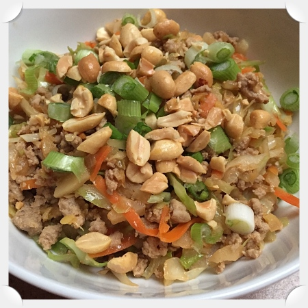 Ground Turkey & Cabbage with Spicy Peanut Sauce
