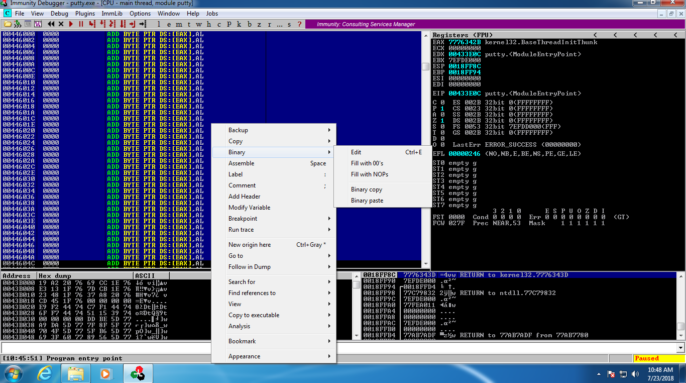 Backdoring PE files using code caves : OSCE/CTP Module 0x03