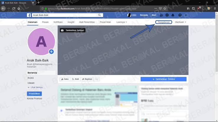 cara menghapus halaman facebook melalui website di Android