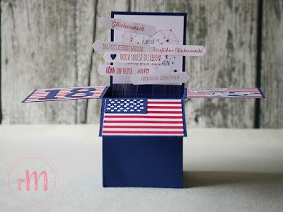 Stampin' Up! rosa Mädchen Kulmbach: Card in a Box Geburtstagskarte als USA Reisegutschein mit Geburtstagsmix, Kuchen ist die Antwort, Klitzekleine Grüße, Sternstunden, Gut gewappnet, Stanze Klassisches Etikett, Stanzformen Stickmuster und Lagenweise Kreise