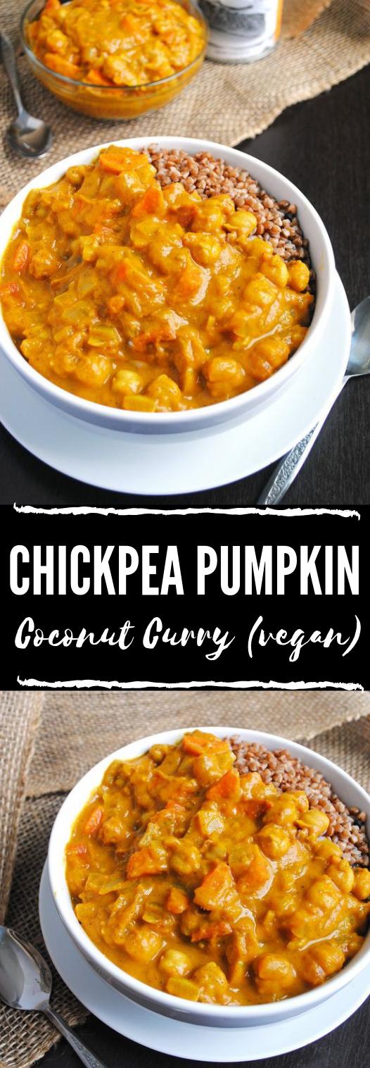 Chickpea Pumpkin Coconut Curry (vegan) #vegetarian #pumpkin #chickpea #paleo #dinner