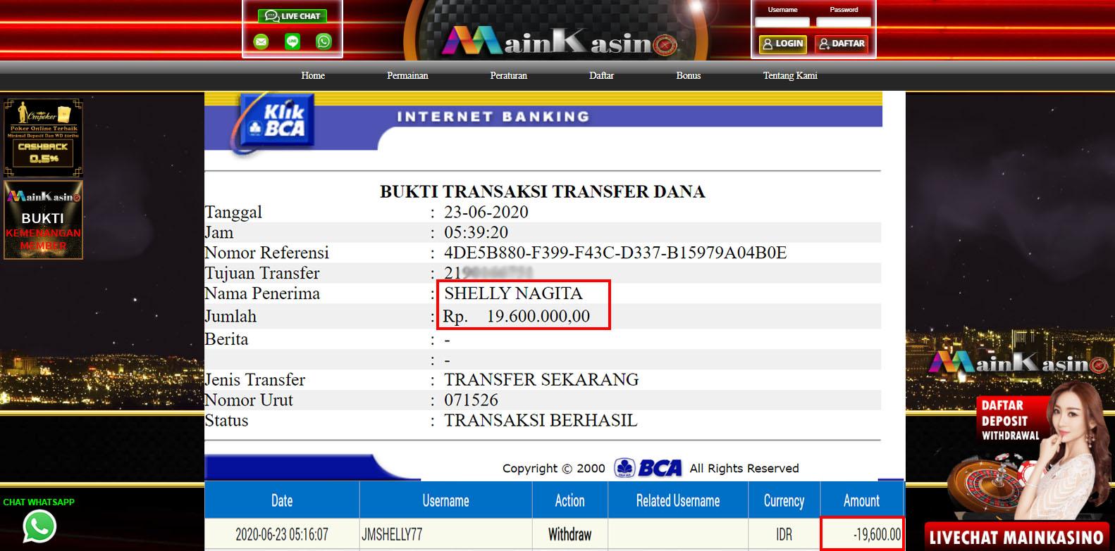 Selamat Kepada Member Setia MAIN KASINO Withdraw RP 19.600.000