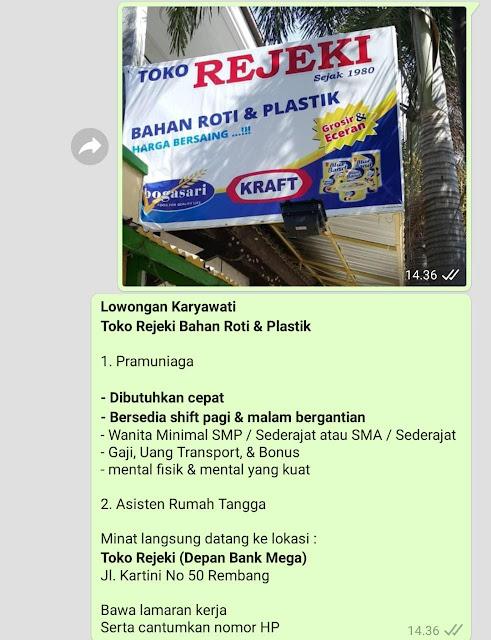 Lowongan Kerja Pramuniaga Dan Asisten Rumah Tangga Toko Rejeki Bahan Roti & Plastik Rembang
