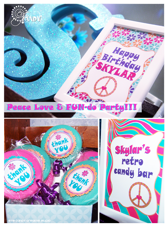 peace party favors, candy bar, peace party decor ideas