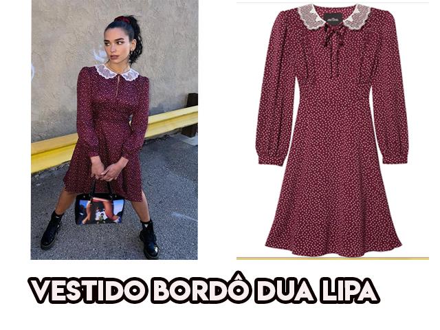 O vestido bordô da Dua Lipa