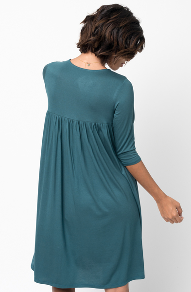 Shop for Hunter green Shirred Back Midi 3/4 sleeve jersey dress crew neck online on caralase.com