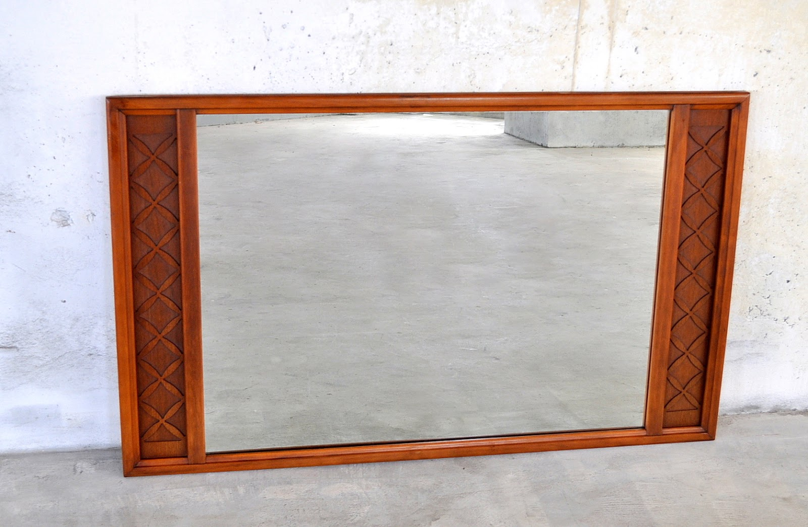 Select Modern Large Mid Century Modern Walnut Mirror