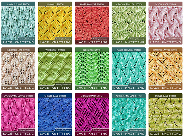 Lace Knitting Stitch Patterns. Checkerboard stitch. Lacy Mock Cable. Alternating Leaf Lace Stitch. Twin Leaf. Overlapping Leaves. Alsacian Scallop Lace Stitch. Embossed Leaf.