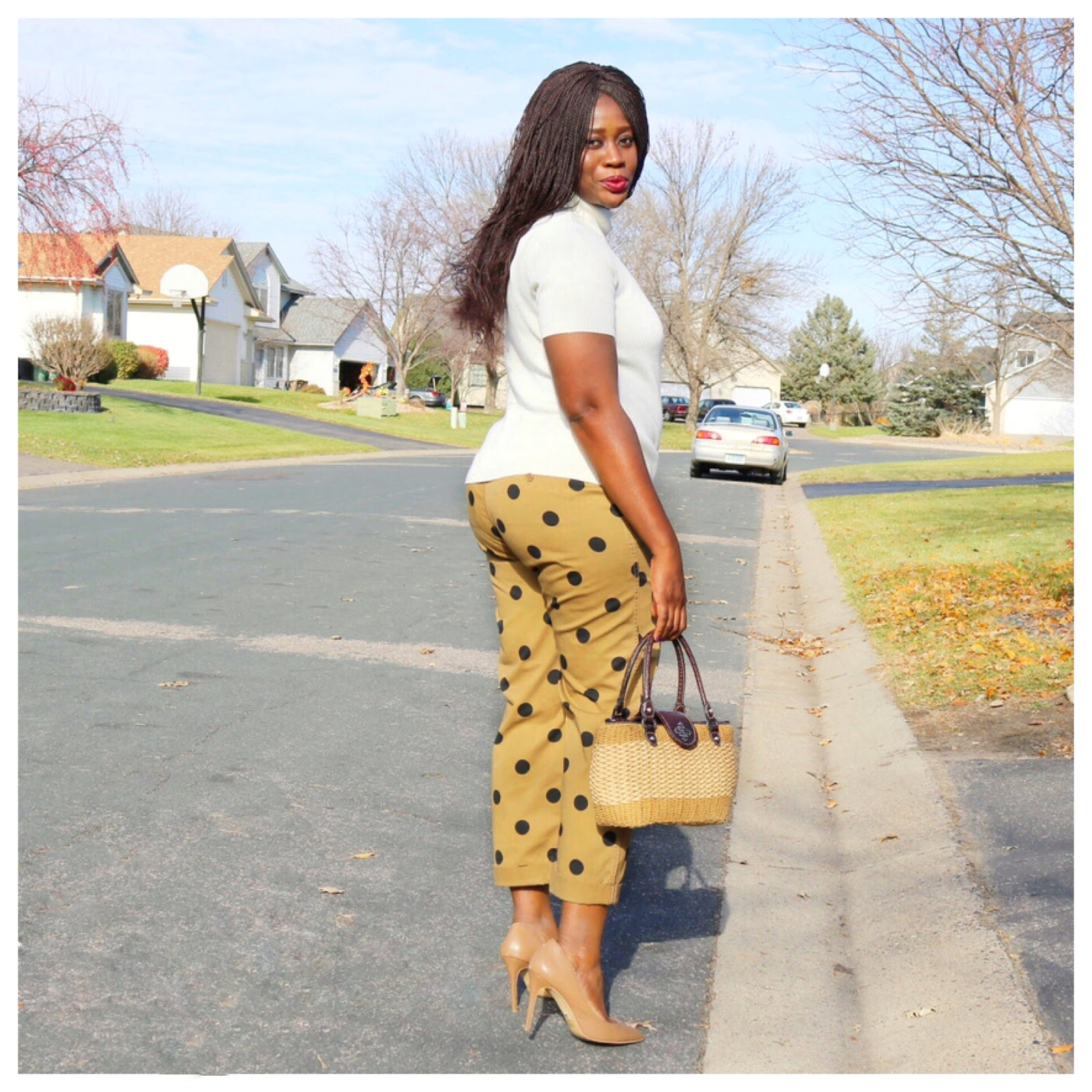 Beauty's Fashion Zone: Cream Color Sweater + Brown Polka