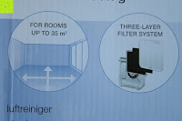 Verpackung oben Info: Beurer LR 300 Luftreiniger mit HEPA Filter für 99,5% Filterleistung, ideal bei Heuschnupfen und zur Allergievorbeugung