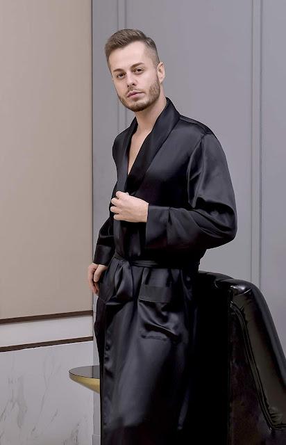 Black Silk Robes For Men