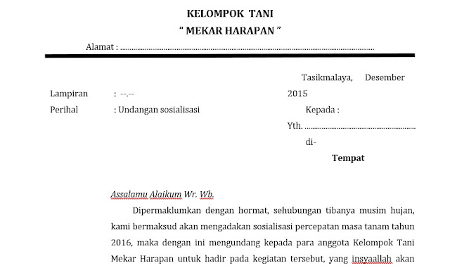 Contoh Surat Undangan Setengah Resmi, Bagian Dan Pengertiannya