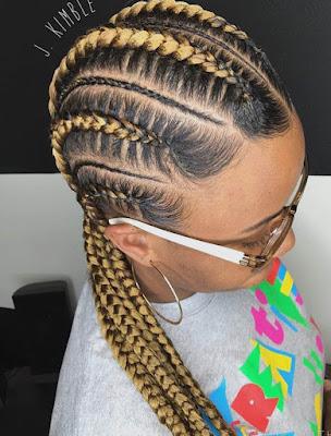 trenzas africanas pegadas de lado doradas tumblr juveniles