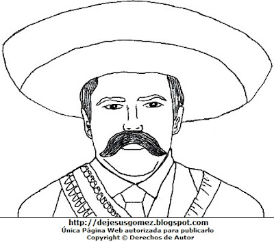 Dibujo de Pancho Villa para colorear pintar imprimir. Imagen de Pancho Villa hecho por Jesus Gómez