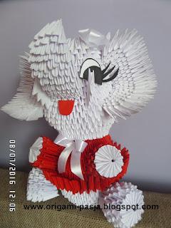 prezent, jak zrobić słonia? papier, origami, biały, czerwony
