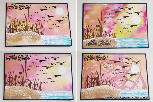 """Sonnenuntergang am Meer mit """"Alles Liebe!"""" und """"Durch die Gezeiten"""" Stampin' Up! www.eris-kreativwerkstatt.blogspot.de"""