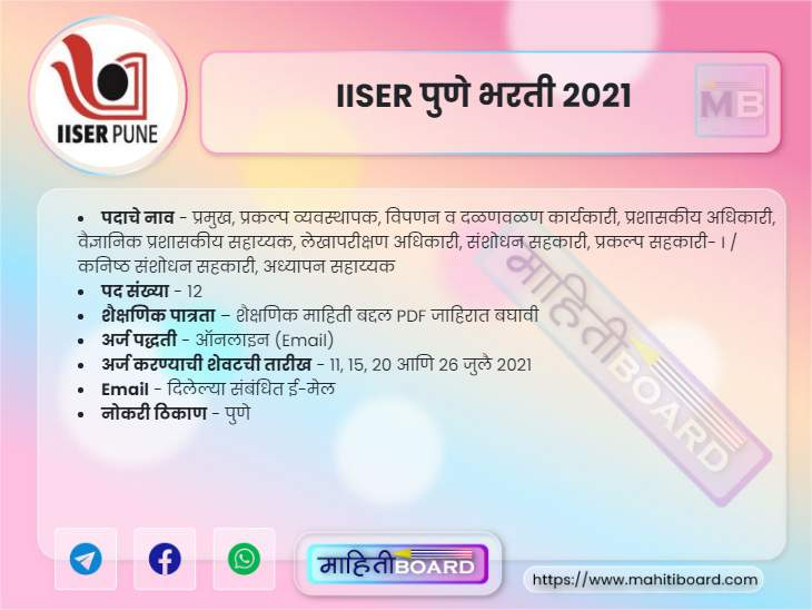 IISER Pune Recruitment 2021