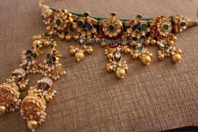 Enamel Work Kundan Choker Heavy Earrings