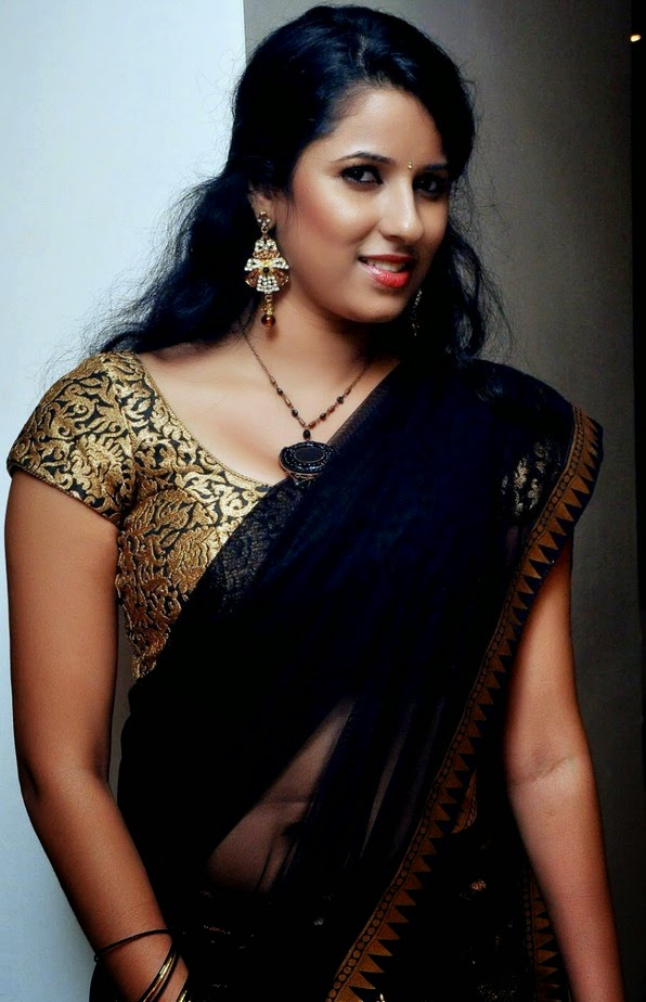 Shravya Reddy Hot Spicy Navel Pics In Transparent Saree ...