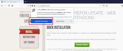 Cara Menyambungkan dan Menghubungkan IDM Ke Mozilla Firefox