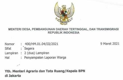 Penerbitan Sertifikat Tanah Warga Bengkulu Dipersulit, Mendes Surati Menteri ATR/BPN
