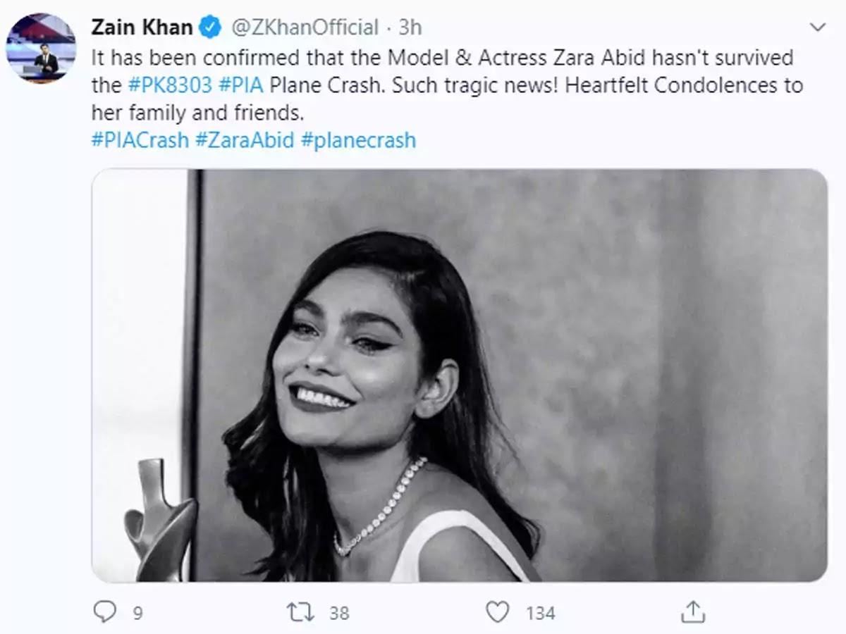 Pakistani Model Zara Abid Dies In Pia Plane Crash