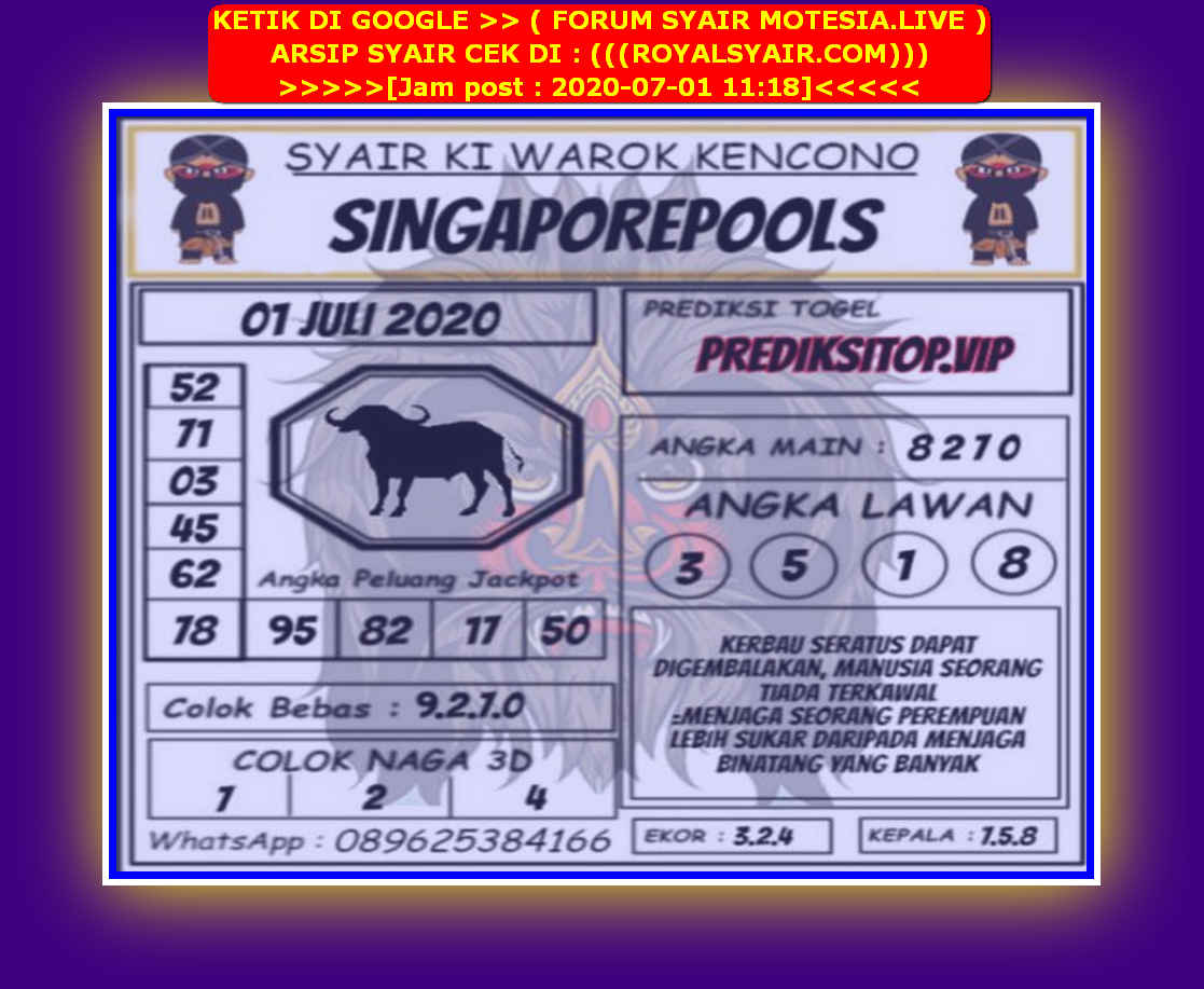 Kode syair Singapore Rabu 1 Juli 2020 181